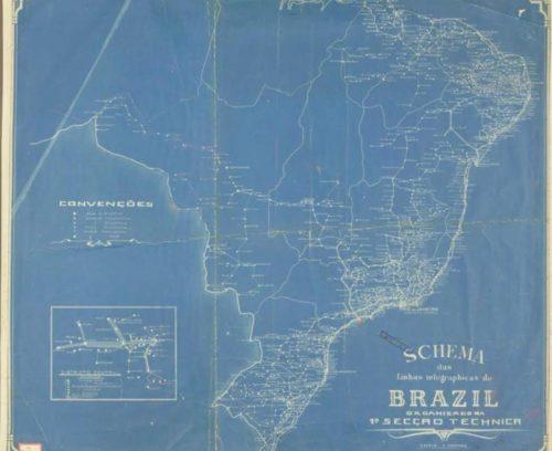 Figura 3 – Mapa Telegráfico do Brasil em 1900 (Acervo Arquivo Nacional – Fundo Francisco Bhering)